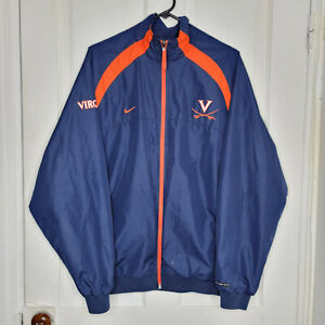 Nike Team UVA Virginia Cavaliers Zip Up Windbreaker Mens Medium Blue Orange NCAA