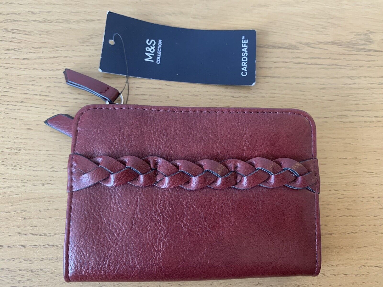 M&S Collection. Cardsafe™ Classic Purse Plait Maroon. New BNWT