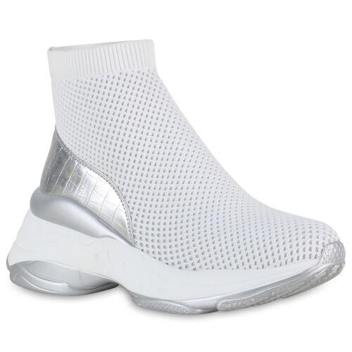 Damen Plateau Sneaker Glitzer Slip On Freizeitschuhe Chunky Schuhe 899014 Hot