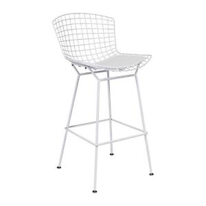 Strange Details About Bertoia Style Counter Stool In White 26 Seat Height Theyellowbook Wood Chair Design Ideas Theyellowbookinfo