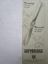 7/1946 PUB THE AIRSCREW CO WEYBRIDGE PROPELLERS HELICES ORIGINAL AD