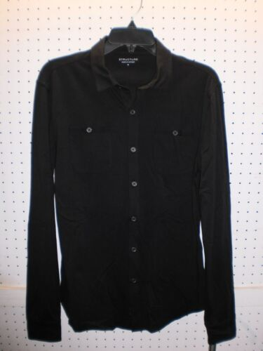 STRUCTURE Men's Long Sleeve Front Button Knit BLACKOUT Shirt FREE Shpg NWTA