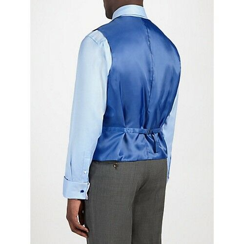 £100 Chester Fit Waistcoat Tag Tailored Blue Pin Reg Rrp New 46 Barrie Siz qxnO57wYH