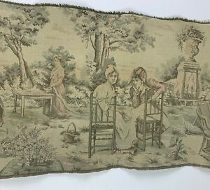 Vintage-Tapestry-Wall-Hanging-18-X-54-French-Courting-Scene-Faded-Aubusson-Style