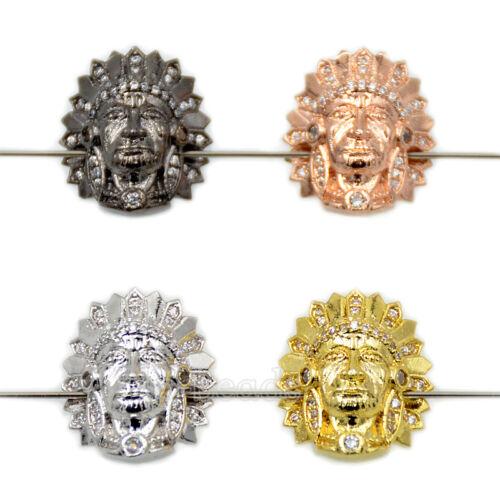 Clair zircon Indian Sphinx Pierres Micro Pave Bracelet Connector Charm Beads