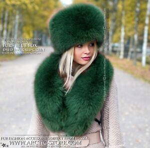 d654eb49e5b Image is loading Emerald-Green-winter-hat-amp-collar-Premium-quality-