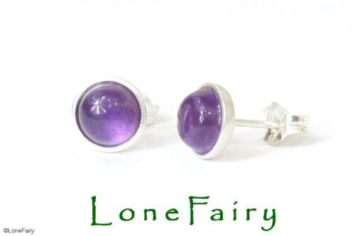 Solid 925 Sterling Silver Genuine Purple Amethyst Gemstone Stud Earrings 7mm