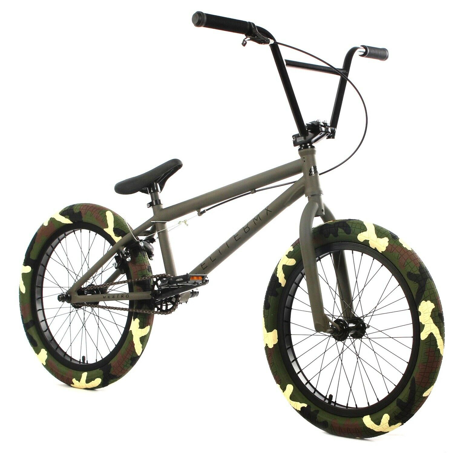 Elite 20 Inch Freestyle BMX Destro Bike Crank Army Green