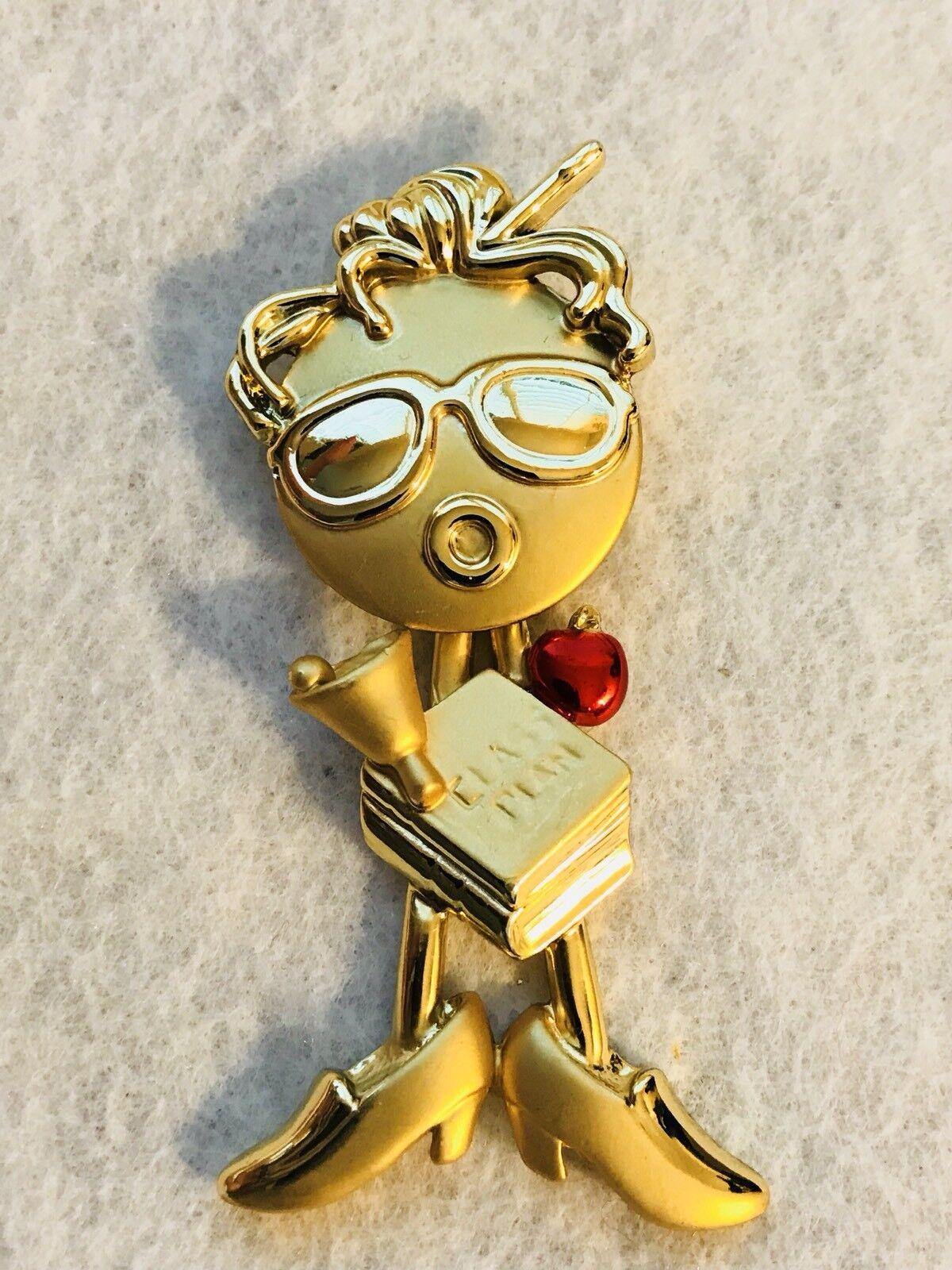 Vintage Signed AJC Brushed gold Tone Teacher w Apple Pendulum Brooch Pin RARE