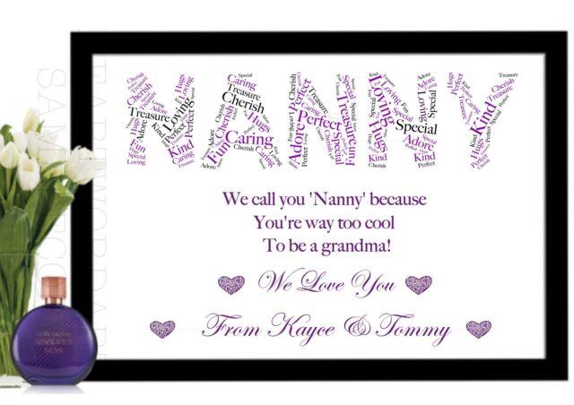 Mothers Day Gift NANNY NAN NANNIE NANNA NANA Personalised Birthday Prints