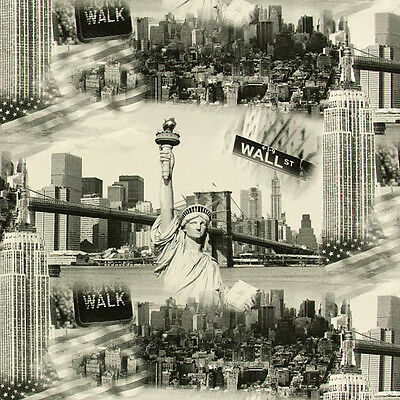 """NEW YORK Curtain Upholstery Cotton Fabric USA AMERICANA 55""""/140cm wide canvas"""