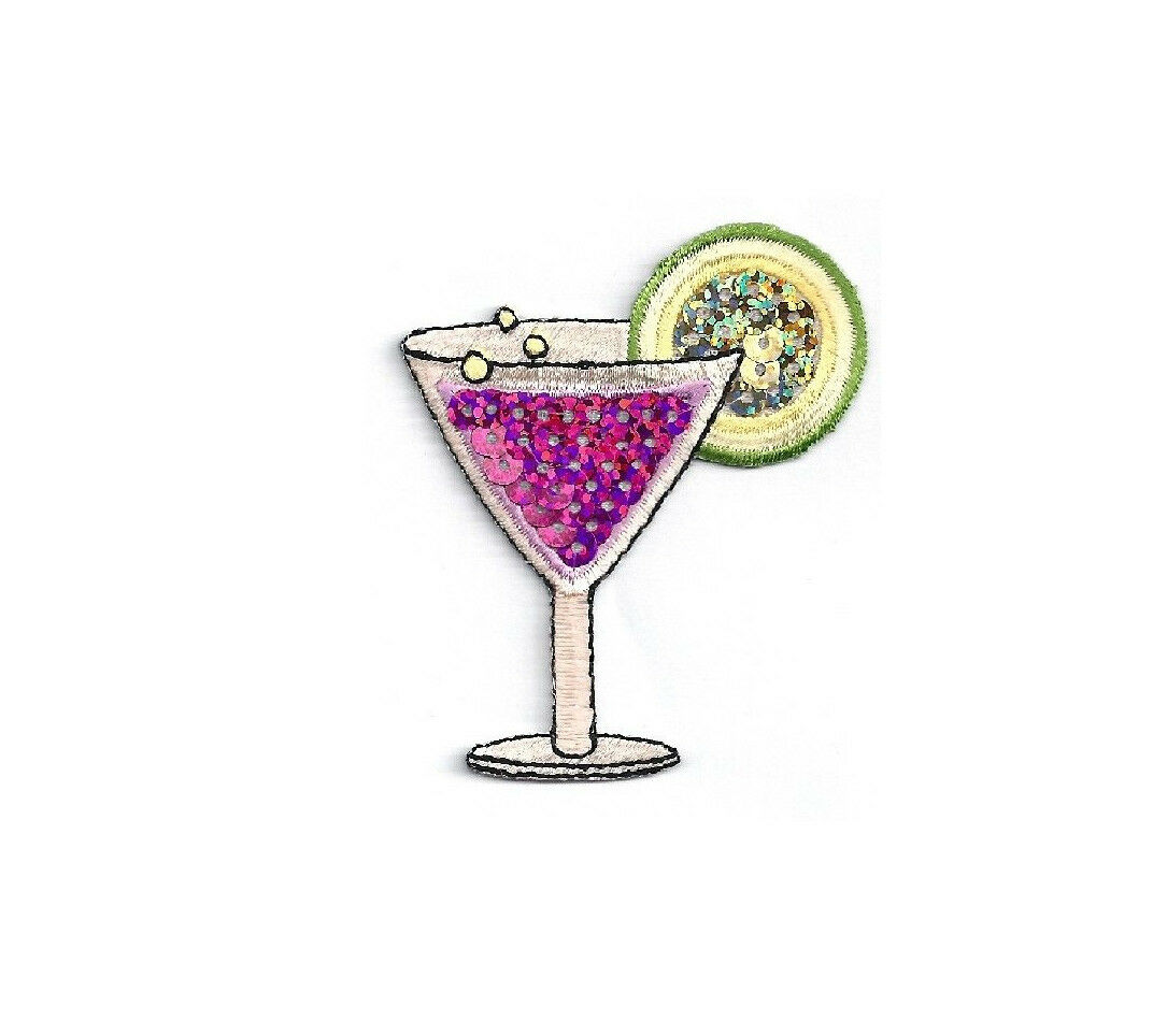 1pc LEMON LIME COCKTAIL Glass TROPICAL DRINK MIX Happy Hour BAR ~IRON ON PATCH