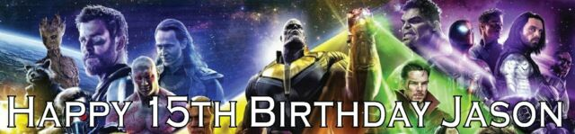 2 Personalised MARVEL AVENGERS INFINITY WAR banners all occasions Birthday 2a