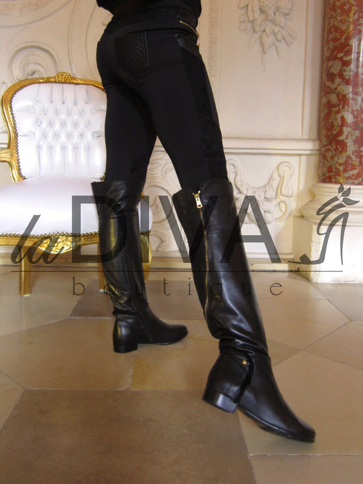 Grandes zapatos con descuento NAPOLEONI ~ Designer ITALY Fell Stiefel Leder 36 Zipper Overknee Boots schwarz