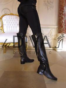 napoleoni designer italy fell stiefel leder 37 zipper overknee boots schwarz ebay. Black Bedroom Furniture Sets. Home Design Ideas