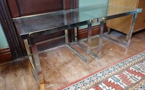 Mid-Century-Modern-Glass-Top-Side-Table-Pair-VTG-60-70s-Aluminium-Retro-Design