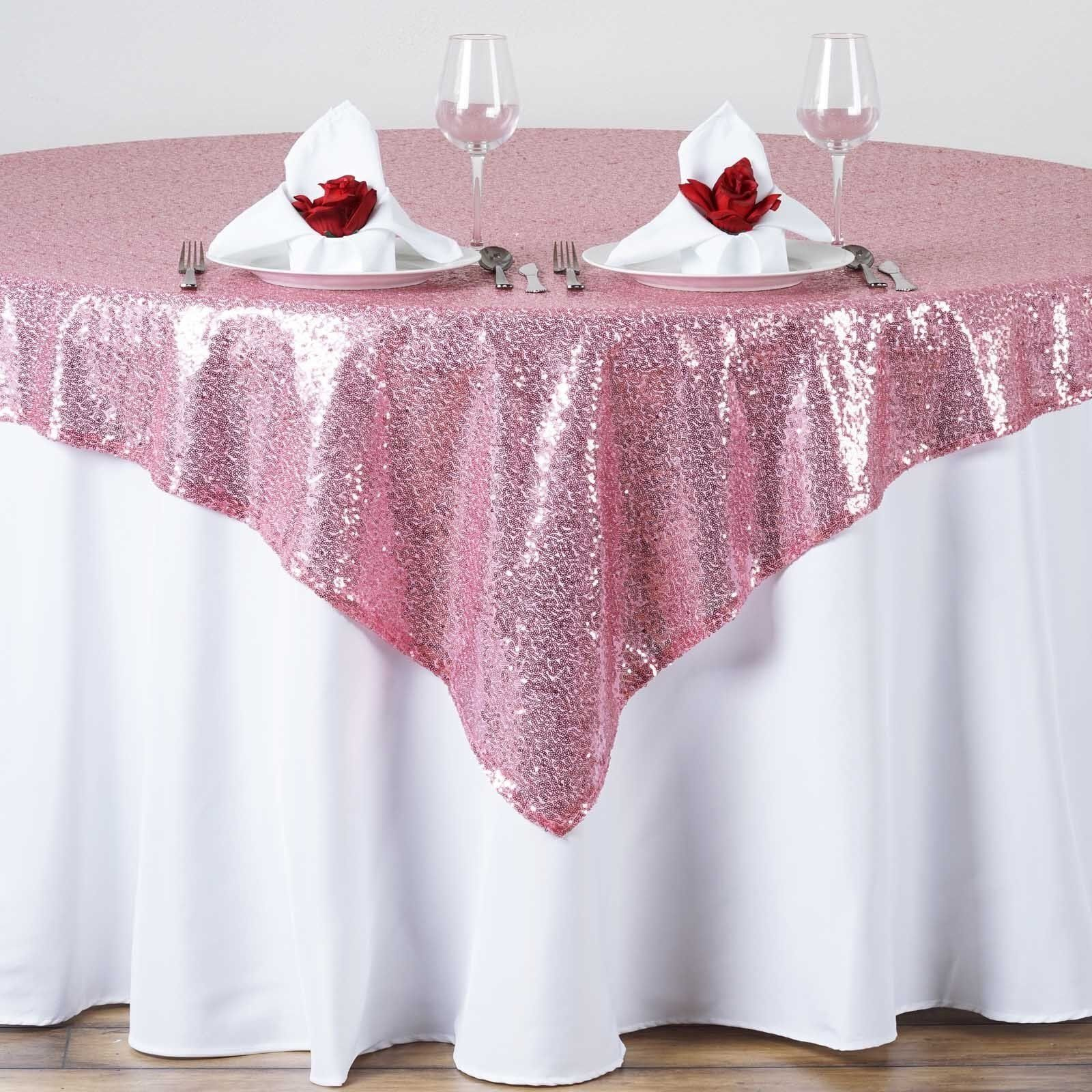 15 Sequin Table Overlay 54x54  inch Sparkly Tablecloth 3 FarbeS Wedding Cake USA