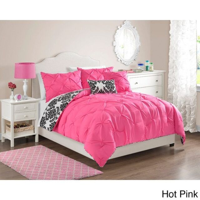 Queen Pink Comforter Set 5 Piece Reversible Girls Teen For Sale Online