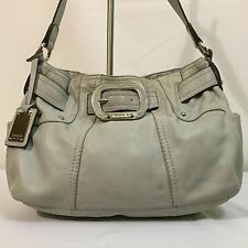 TIGNANELLO Light Baby Blue Leather Belted Shopper Shoulder Tote Purse Bag