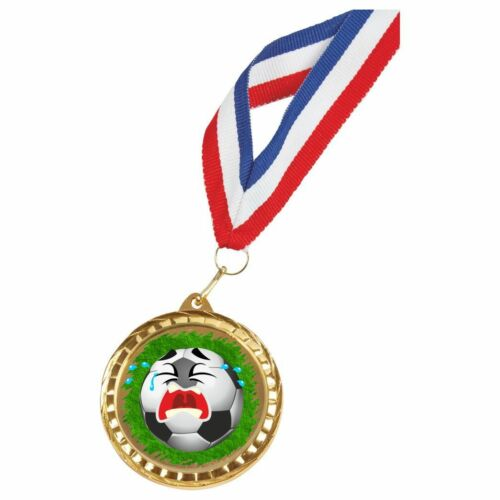 Crying Football Fun Medal with Ribbon twt 488ZAP//IG158 60mm Diameter