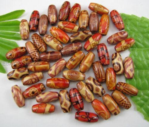 500pcs 15X7MM Mixte Peint à La Main Bois Oval Loose Beads À faire soi-même Findings