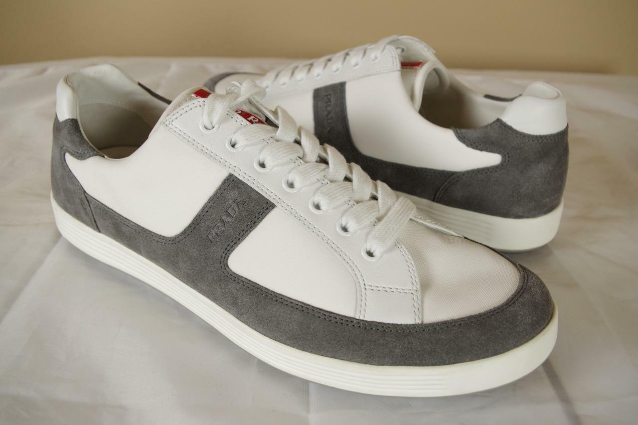 560 Prada Gray White Suede Nylon Sneakers 10.5 P 11.5 US Low Top Shoes Trainers