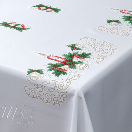 57 x 118 MforStyle Christmas Tablecloth White Xmas candle Red Gold Green Pattern Oblong Rectangle Small Medium or Large 145cm x 300cm