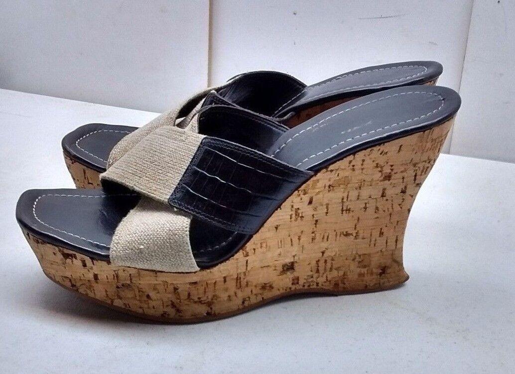 Donald J Pliner Couture damen braun Leather Textile Cork Wedge Sandal schuhe 9.5M