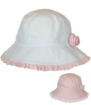 BabyPrem Baby Girls Bow And Frill Summer Hat Sun Pink White 0-3 12-18M