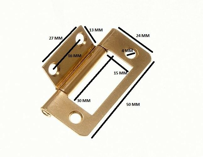 Flush Hinge Cabinet Cupboard EB Brass Plated Steel 50mm 100 Pairs