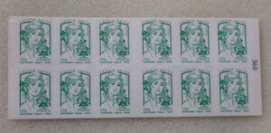 2015-FRANCE-MARIANNE-BOOKLET-OF-12-PEEL-amp-STICK-MINT-STAMPS-GREEN