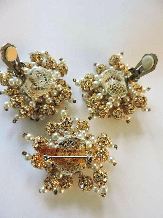 Stunning Vintage Crystal Rhinestone Faux Pearl Go… - image 6