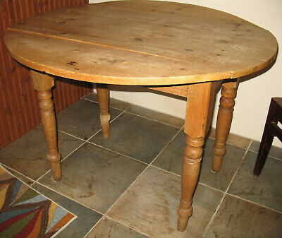 Antique Scrubbed Pine Wooden Drop Leaf Kitchen Dining Table Ireland Ebay