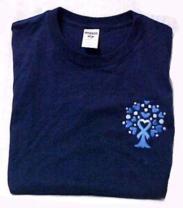 T Shirt M Colon Cancer Awareness Heart Blue Ribbon Tree Navy S S Crew Neck New Ebay