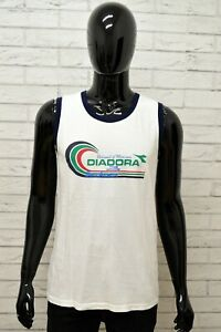 Maglia-Uomo-DIADORA-Maglietta-Polo-Camicia-Shirt-Taglia-L-Man-Cotone-Bianco