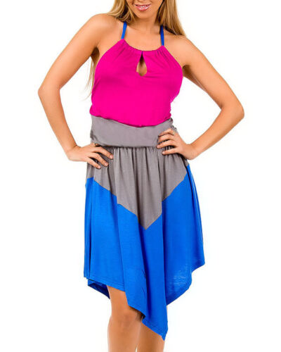 NWT Women Sleeveless Asymmetrical Hem Colorblock Dress Blue Pink Teal S-L