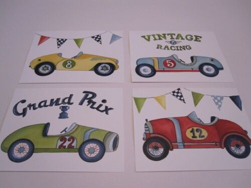 VINTAGE ROADSTER RACE CAR GINGHAM NURSERY ART PRINT IN POTTERY BARN KIDS FRAME