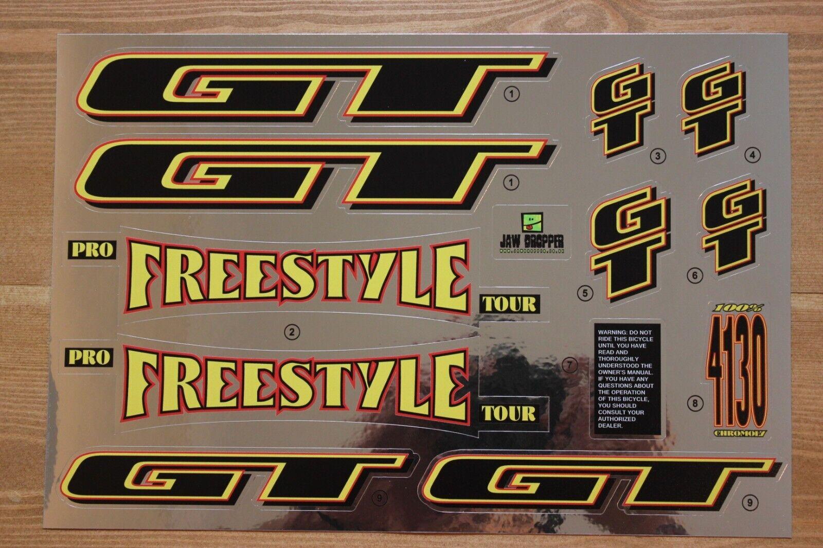 Reproduction 1995 GT Pro Freestyle Tour Bmx Decal Set-Cromo del forro
