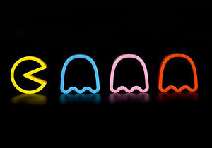 framed print neon pacman and ghosts retro gaming picture poster