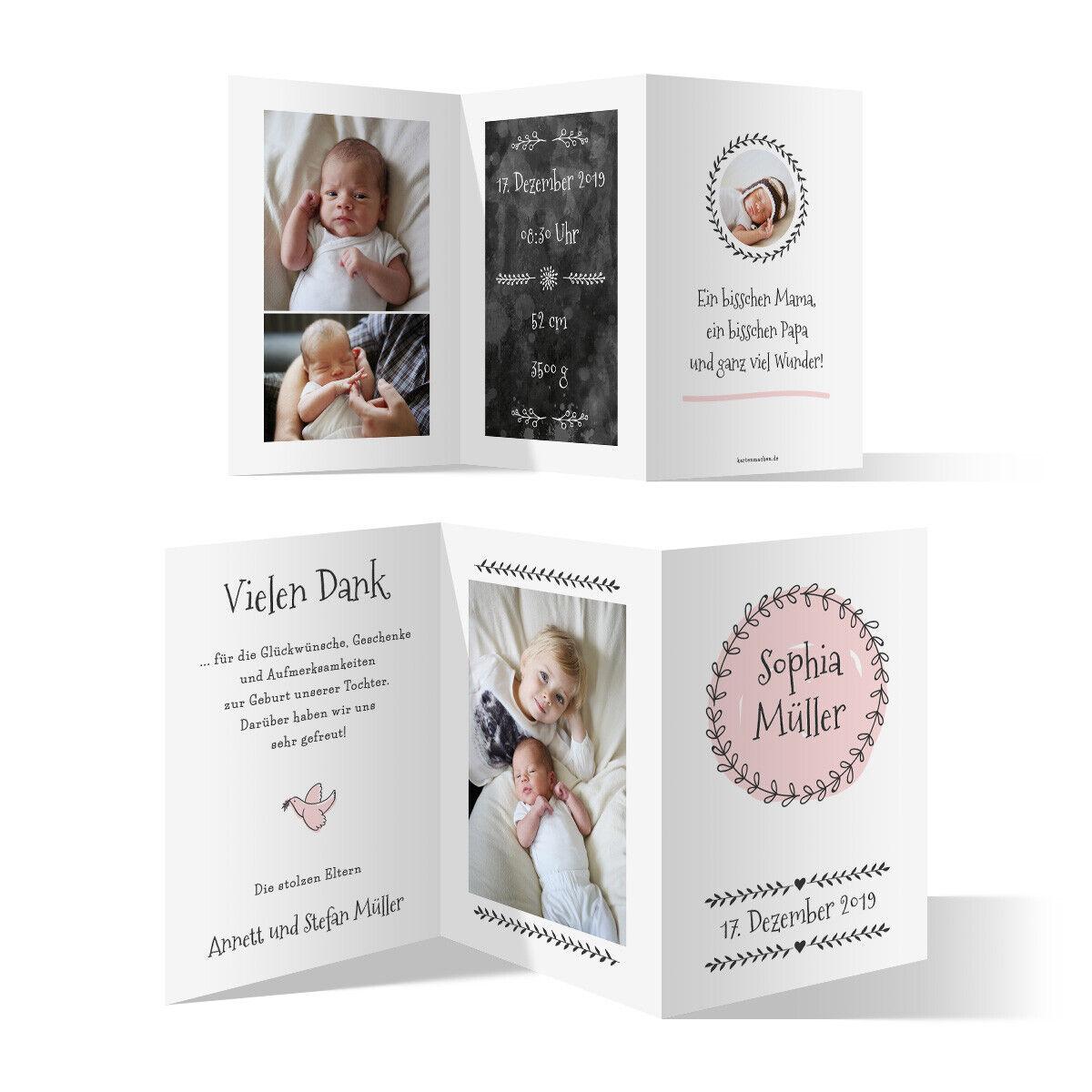 Geburt Danksagungskarten Geburtskarten individuell Fotos Text - Geburtskranz     Günstig    Kaufen Sie beruhigt und glücklich spielen