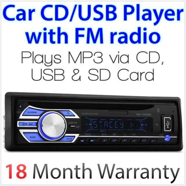 Tunez Audio Single 1 DIN Head Unit CD USB SD Player 52wx4 Car Mp3 Radio Id3  Tag