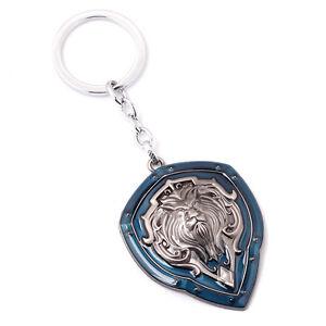 World-of-Warcraft-WOW-Alliance-Lion-039-s-Head-Shield-Keychain-Key-Ring-Pendant-Blue