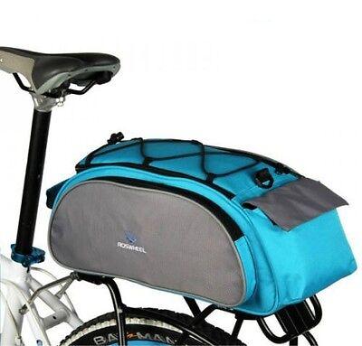 Cycling Bicycle Bike Shoulder Handbag Pannier Rear Seat Bag 13L Rack Trunk Blue