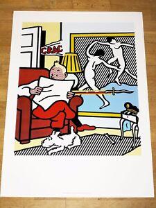 """Pratique Roy Lichtenstein Affiche """"tintin Reading"""" Tintin & Milou Pop Original Affiche-afficher Le Titre D'origine à Tout Prix"""
