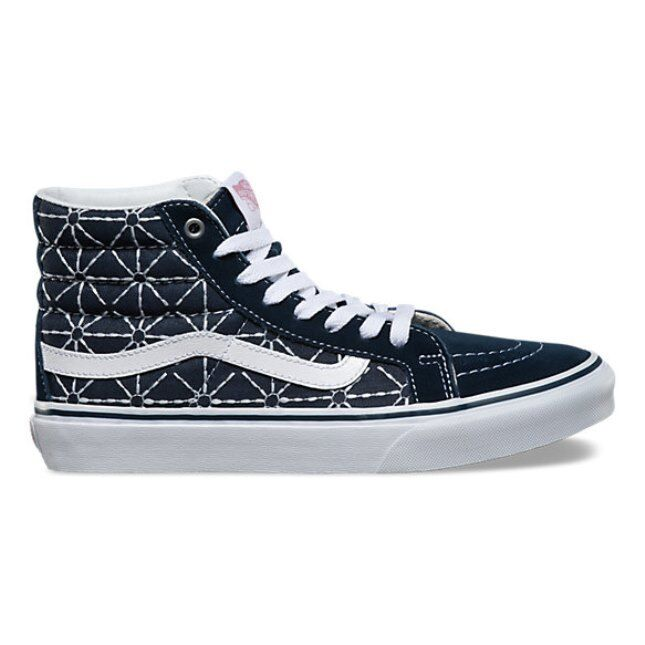 VANS Sk8 Hi Slim (Quilted Denim) Dress bleus/Zephyr Skate  Chaussures  femmes  7