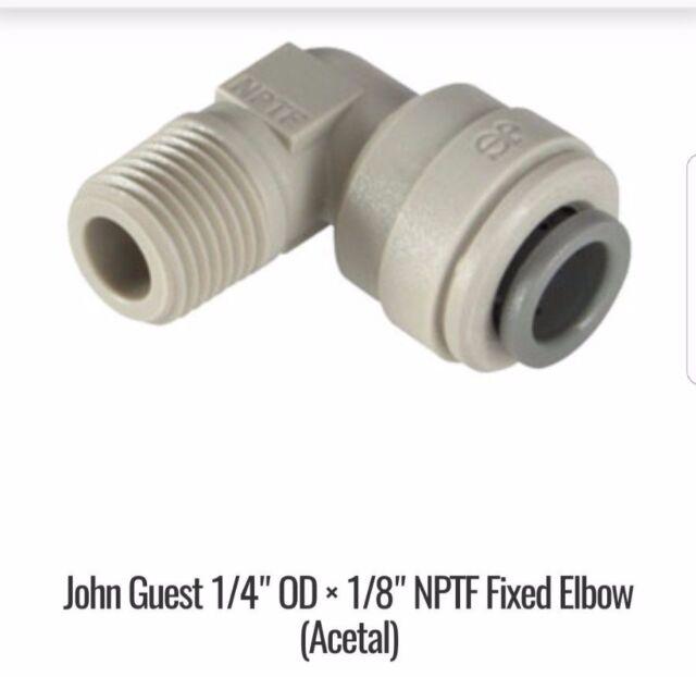 "John Guest Speedfit 1//4/"" NPTF Male x 3//8/"" Tube Fitting Swivel Elbow PI091222S"