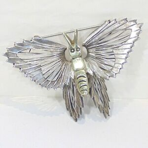 Vintage-sterling-silver-wire-wrap-butterfly-pin-brooch-Mexico-TC-189-3D-brass