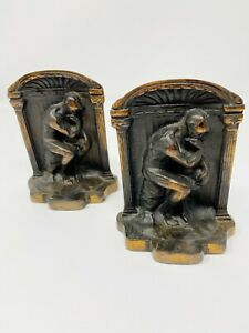 """Vintage Bronze Plated Cast Iron Bookends The Thinker 5.25 x 4"""" Rodin"""