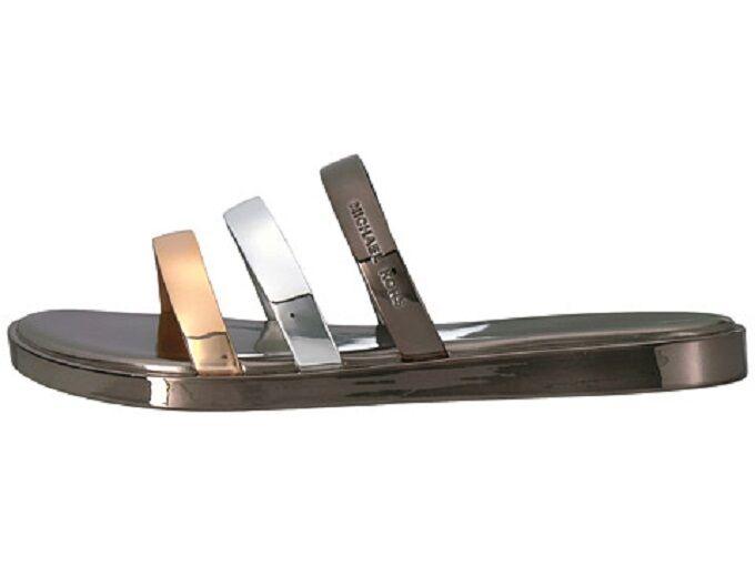 Damens Michael Kors Keiko Platform Gunmetal Silver Gold Metallic Platform Keiko Slides Sandales 8 d85a7c