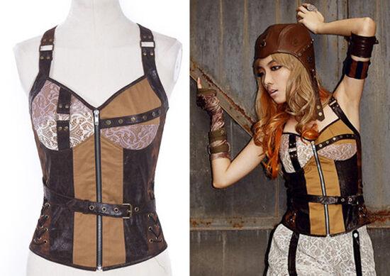 RQ-BL Tanktop Kunst-Leder Braun Steampunk Top Gothic Punk Shirt Lolita  SP018